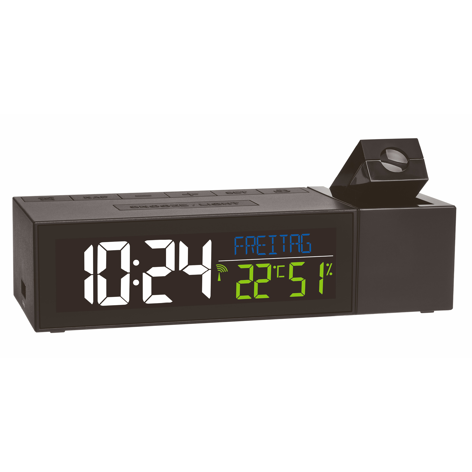 Radio Controlled Projection Alarm Clock With Indoor