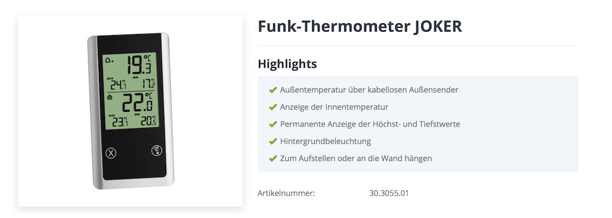 Funkthermometer JOKER TFA