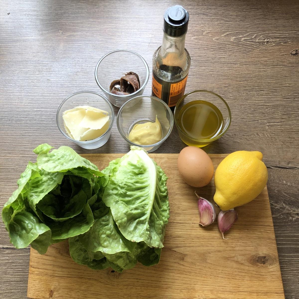 Caesar Salad zur Hähnchenbrust.