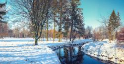 Bild für Wettertrend im Januar, winterliche Landschaft, schneebedeckte Wiese, Bäume und ein Bach, Sonnenschein