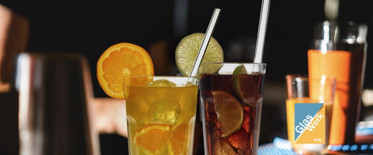 Trinkhalme aus Glas sind wiederverwendbar und umweltfreundlich. GlasWerk nachhaltige Produkte von TFA
