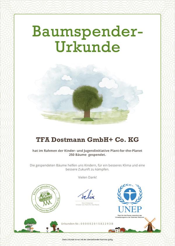 Urkunde über die Spende von 250 Bäumen an plant for the planet. TFA Dostmann Ostern 2019