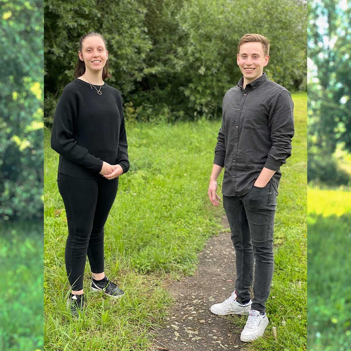 Auszubildende Tinka Gill und Jan Eisenhauer.