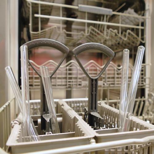 Trinkhalme aus Glas GlasWerk sind spülmaschinengeeignet.