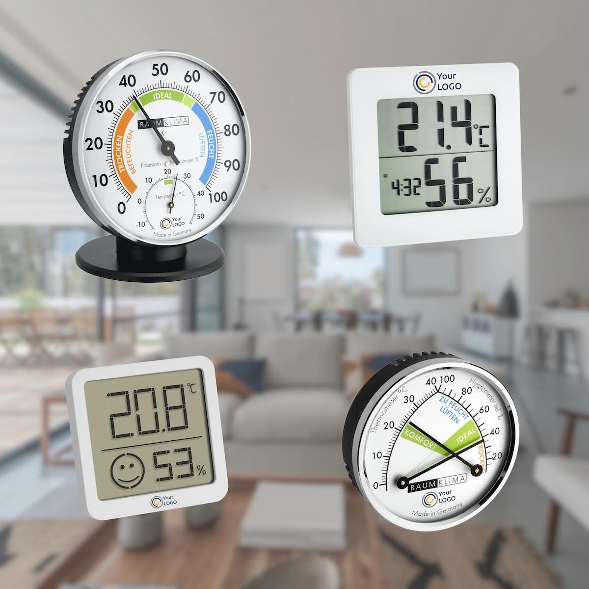 Werbeartikel: Thermo-Hygrometer mit Druck.