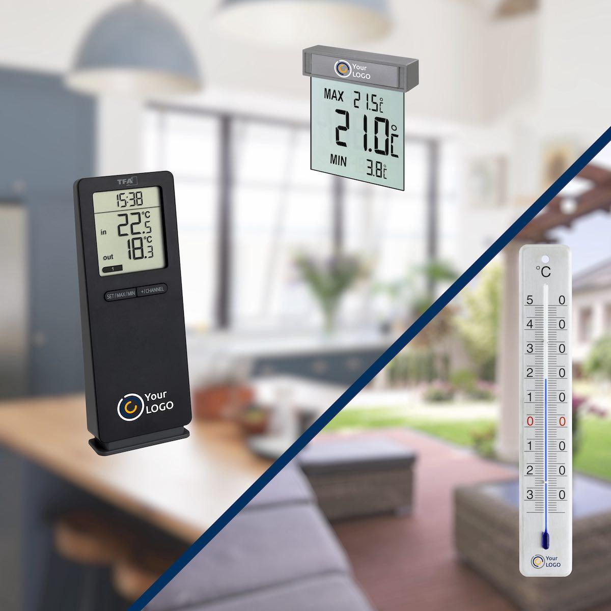 Beliebte Werbemittel: Thermometer mit Druck.