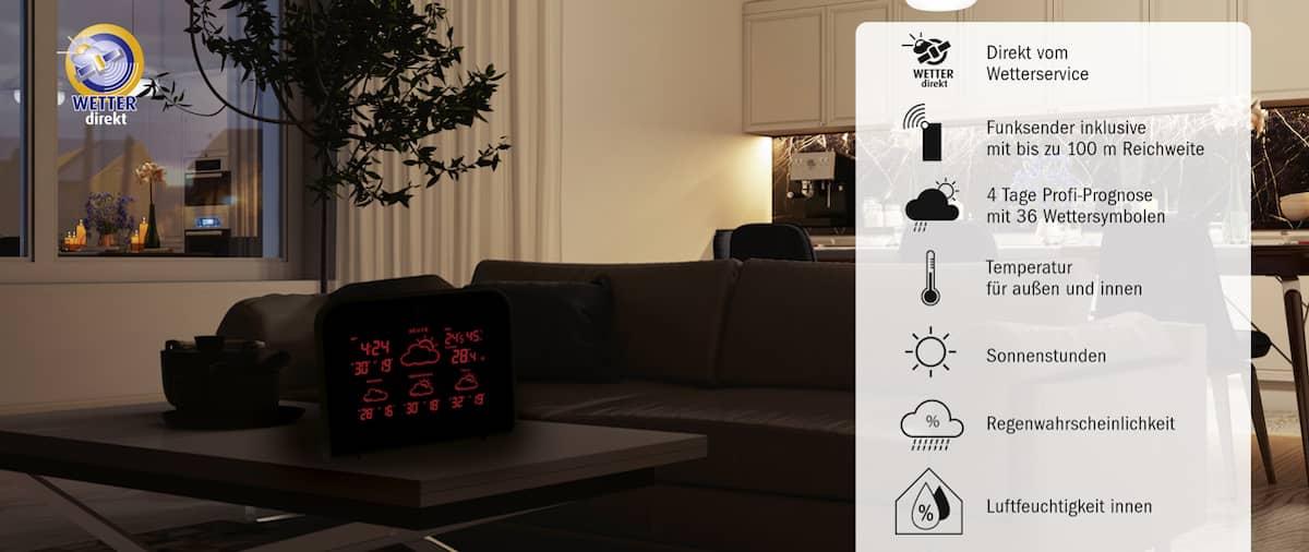 WETTERdirekt Wetterstation von TFA steht auf einem Couchtisch im Wohnzimmer. In der Seitenleiste werden die Vorteile der WETTERdirekt Technologie genannt.